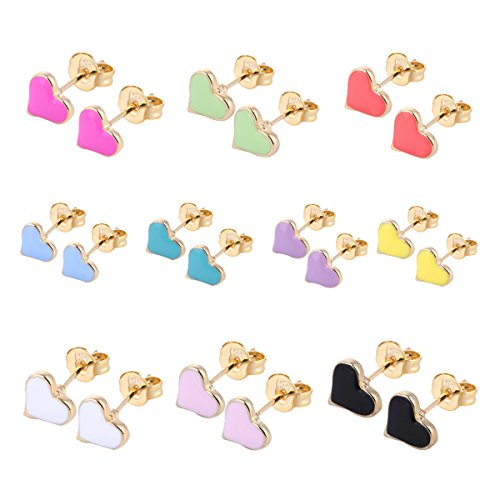 10 Pairs Small Cute Simple Post Stud Earrings Set for Girls Kids Gold Tone Mix and Match (Love)