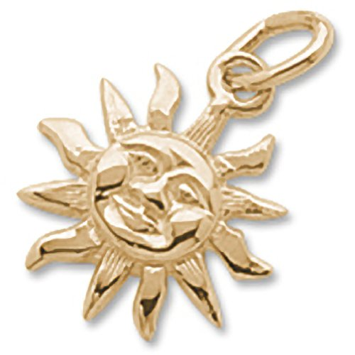 Aruba Sun Small Charm In 14k Yellow Gold, Charms for Bracelets and Necklaces (Charm 14k Gold Sun Yellow)