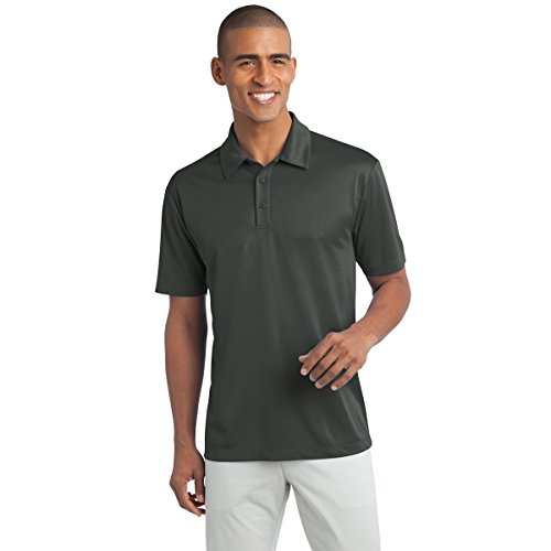 Mens Big & Tall Short Sleeve Moisture Wicking Silk Touch Polo Shirt, 3XLT, Steel Grey