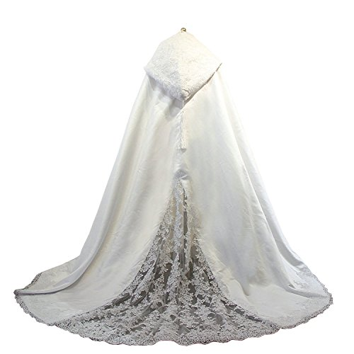 Women's Long Wedding Cape Hooded Cloak for Bride Lace Edge (White, -