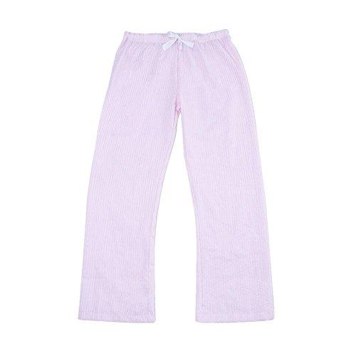 MONOBLANKS Women Seersucker Pajama Pants (L, Pink)