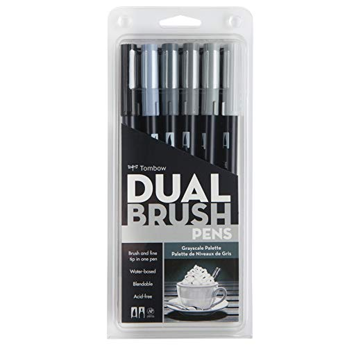 Tombow Dual Brush Pen Art Markers, Grayscale, 6-Pack -