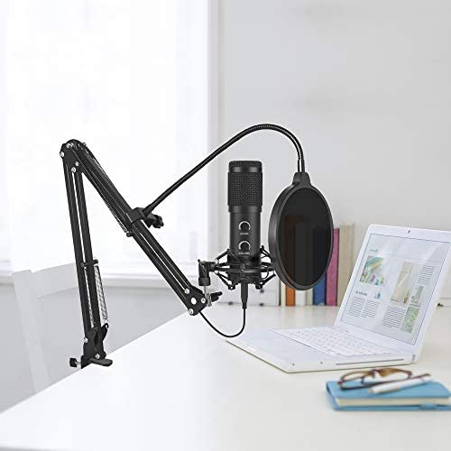 【2020 Upgraded】 USB Condenser Microphone for Computer, Great for Gaming, Podcast, LiveStreaming, YouTube Recording, Karaoke on Computer, Plug & Play, with Adjustable Metal Arm Stand, Ideal for Gift 41tjvvrEf 2BL