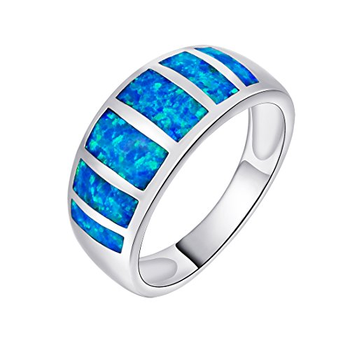 OPALBEST Half Eternity Design Ring with Blue Opal Inlay Ring White Gold Plated (9) (Opal Inlay Ring)