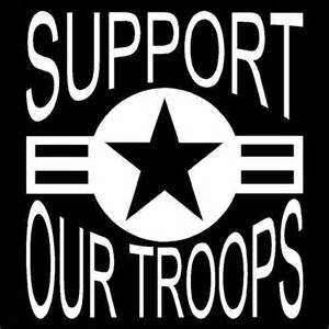 Support Our Troops Military Vinyl Decal Sticker|WHITE|Cars Trucks Vans SUV Laptops Wall Art|5.5