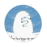 Polyester Round Tablecloth,Animal Decor,Mother Polar Bear Hugging Her Baby in the Snow North Winter Love Keeps Warm Artful Theme,Blue White,Dining Room Kitchen Picnic Table Cloth Cover,for Outdoor In