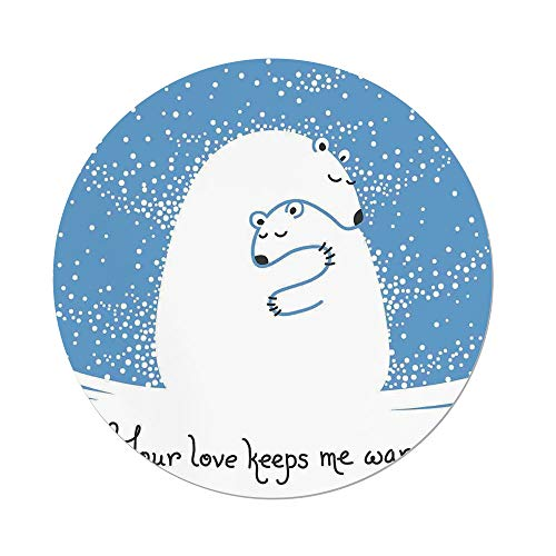 Polyester Round Tablecloth,Animal Decor,Mother Polar Bear Hugging Her Baby in the Snow North Winter Love Keeps Warm Artful Theme,Blue White,Dining Room Kitchen Picnic Table Cloth Cover,for Outdoor In by iPrint