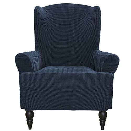 Easy-Going Stretch Slipcovers, Sofa Covers, Furniture Protector with Elastic Bottom, Anti-Slip Foams, 1 Piece Couch Shield, Polyester Spandex Jacquard Fabric Small Checks (Wing Chair, Navy) -