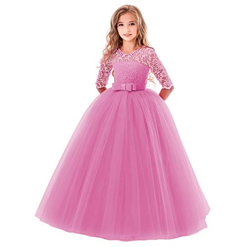 Toddler Girl's Embroidery Tulle Lace Maxi Flower Girl Wedding Bridesmaid Dress 3/4 Sleeve Long A Line Pageant Formal Prom Dance Evening Gowns Casual Holiday Party Dress Bean Pink 9-10 (Spring Embroidered Skirt)