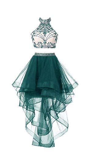 HEIMO Women's 2 Pieces Beaded Keyhole Back Homecoming Dresses Halter Beading Prom Gowns Short H199 14 Teal