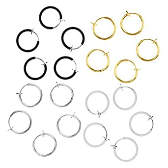 Dolity 20 Pieces Stainless Steel Non-piercing Tiny Nose Earring Loop Fake Ring 4 Colors Wholesale