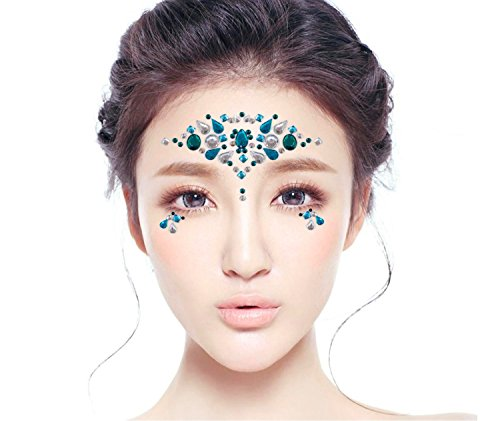 0f2f8d348c7 DaLin 6 Sets Mermaid Face Gems Rave Festival Glitter Face Jewels ...