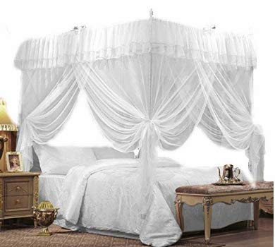 IFELES 4 Corners Bed Canopy Twin Full Queen King Mosquito Net (CALIFORNIA KING)
