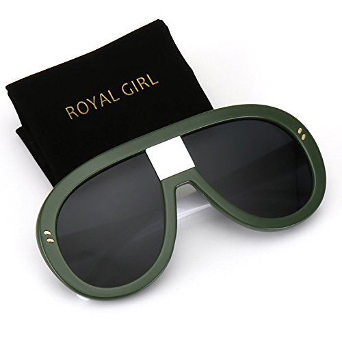 ROYAL GIRL Unisex Oversized Sunglasses Women Vintage Oval Thick Big Frame Shield Fashion Goggles (Green Frame, - Glasses Girl Thick