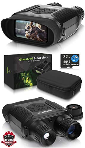 "CreativeXP Digital Night Vision Binoculars for 100% Darkness - Save Photos & Videos - 7x31 mm Infrared Spy Gear for Hunting & Surveillance - 4"" Large Screen & 1300ft Viewing Range (NV Binoculars)"