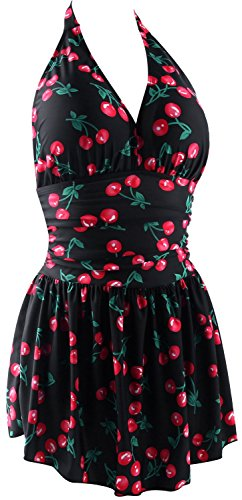 Dresser Cherry Ten Drawer - Fitglam Women's 50s Retro Swimdress Swimsuit One Piece Halter Monokini Swimwear Black Cherry Swimdress, Size 12 (fits US 10-12)