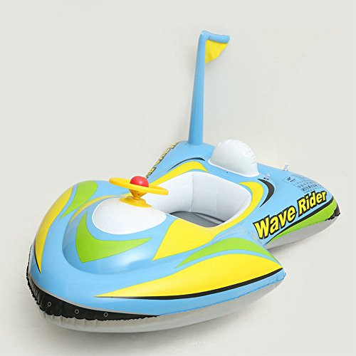 Baby Inflatable Motorboat Kids Toddler Infant Swimming Float Seat Boat Pool Ring Ride-On Rider Water Mattress Swim for Children Toy Age 3 and Up (Kiddie Boat)