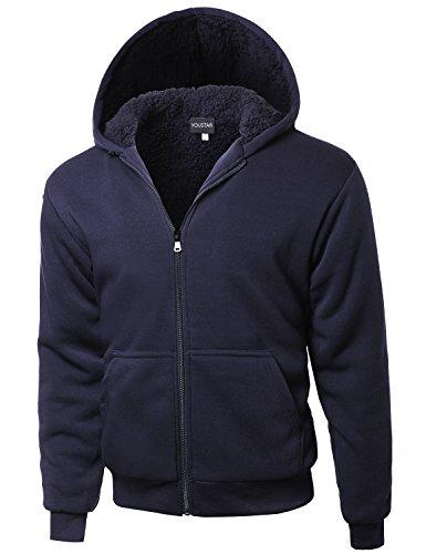Drawstring Classic Sweatshirt - Classic Sherpa Lining Drawstring Hoodie Navy Size L