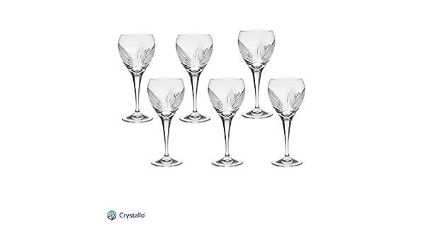 Crystallo Orchidea cortado a mano de cristal vino blanco cristal 260 ml, juego de 6: Amazon.es: Hogar