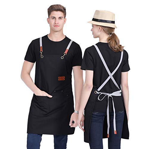 Caishenyeah Canvas Cotton BBQ Chefs Working Kitchen Aprons for Baking Womens Mens Dad Gilling Waitress Bars Aprons for Couples Cooking with Tool Pockets,Cross-Back Straps Aprons 1PC(Black)