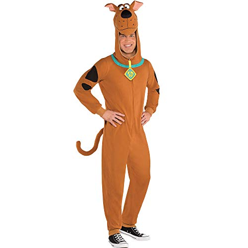 SUIT YOURSELF Zipster Scooby-Doo One-Piece Costume for Adults, Size Medium, Includes a Jumpsuit with a Scooby Headpiece