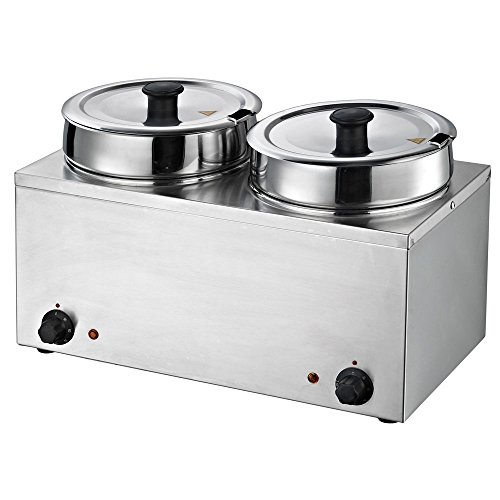 - Chef's Supreme - Dual 3.7 qt. Round Well Stainless Food Warmer w/Inserts and Lids