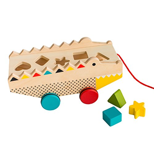 (Petit Collage Rock & Roll Alligator Wooden Shape Sorter and Pull Toy)