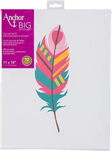 - Anchor Big Stitch Counted Cross-Stitch Kit w/ Embroidery Floss Feather Teal/Pink, 11