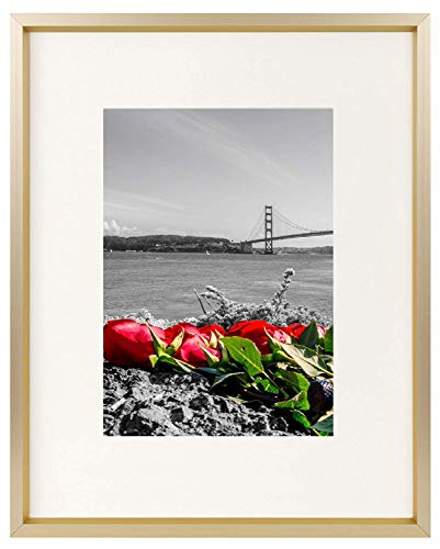 Frametory, 8x10 Table-Top Metal Picture Frame Collection, Aluminum Photo Frame with Ivory Color Mat for 5x7 Picture & Real Glass (Gold)