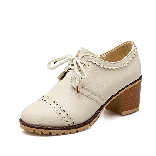 Odomolor AmagooTer Women's Lace-up Round-Toe Kitten-Heels PU Solid Pumps-Shoes Beige