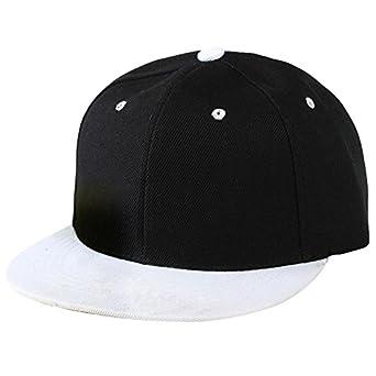 df7c296b297 SODIAL(R) Plain Snapback Hat Caps Flat Peak Funky Retro Baseball Cap Hip  Hop Hats Vintage Black White  Amazon.co.uk  Clothing