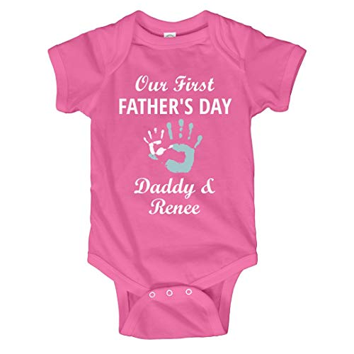 FUNNYSHIRTS.ORG Cute 1st Father's Day Daddy & Renee: Infant Bodysuit Raspberry