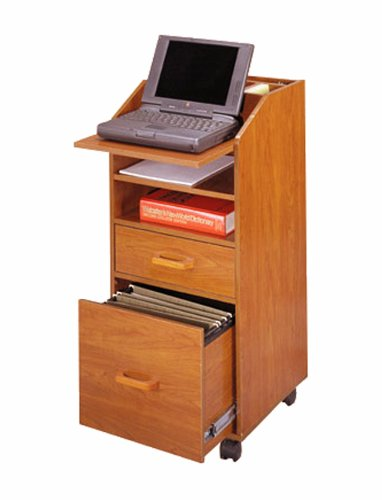 Laptop Cart w Accessory & File Drawers in Natural Cherry Finish by Venture Horizon
