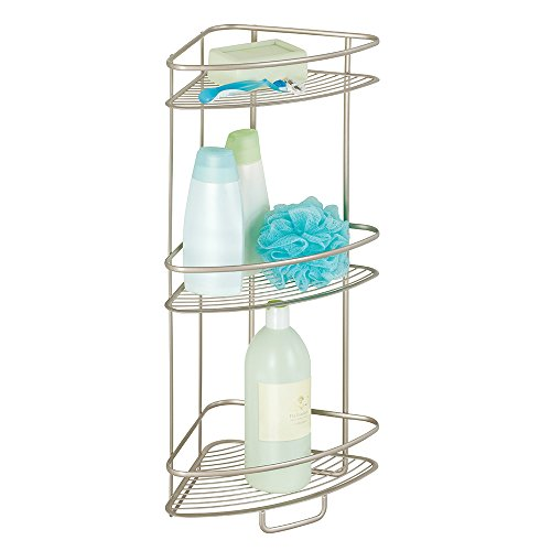 Mdesign free standing bathroom or shower corner storage shelves for towels soap shampoo for Free standing shelves for bathroom