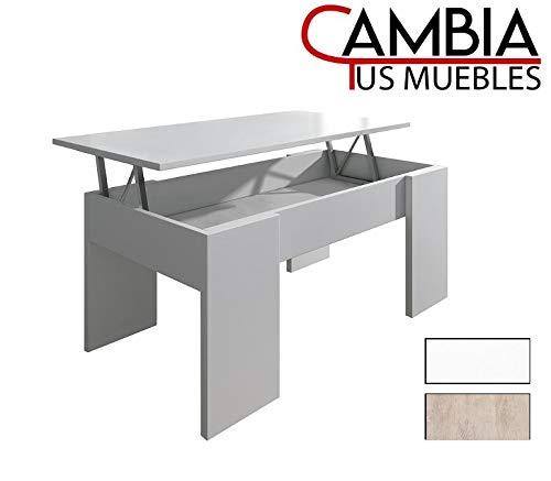 CAMBIA TUS MUEBLES - Mesa de Centro elevable para Comedor, salon PREMIER2, Color Roble, Mesa Auxiliar (Blanco)