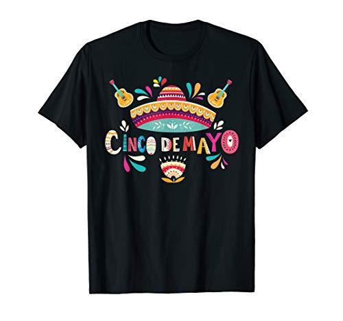 Cinco De Mayo T-Shirt Mexico Sombrero Guitar flower]()
