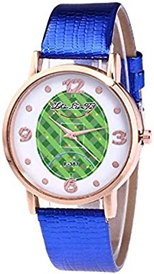 Windoson Womens Quartz Watches Casual Football Pattern Fashion Leather Band Round Dial Analog Wrist Watches (Blue)