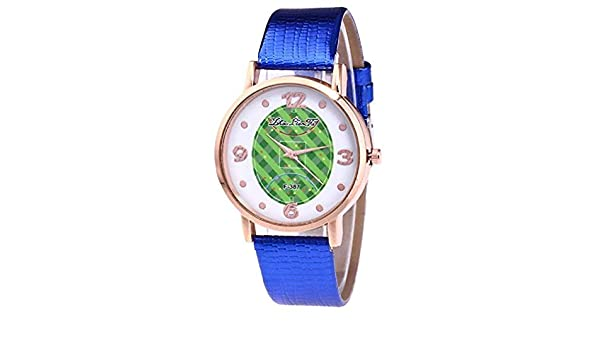 Amazon.com: Windoson Womens Quartz Watches Casual Football Pattern Fashion Leather Band Round Dial Analog Wrist Watches (Blue): Electronics