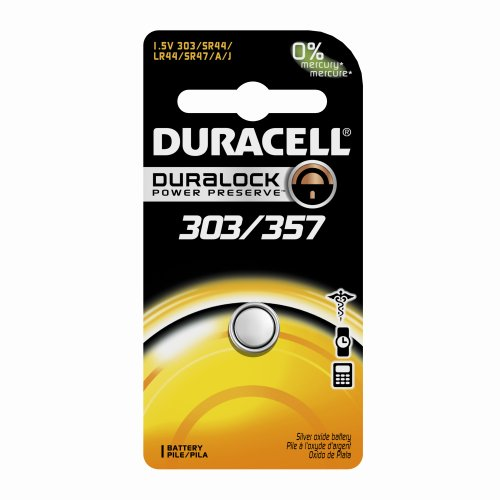 - Duracell D303/357PK08 Silver Oxide Electronic Watch Battery, 303/357 Size, 1.55V, 165 mAh Capacity (Case of 6)
