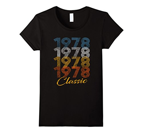 Hairstyles 1970s (Womens Vintage 78- 40 Years Old 40th Birthday 70s Seventies T-shirt XL Black)