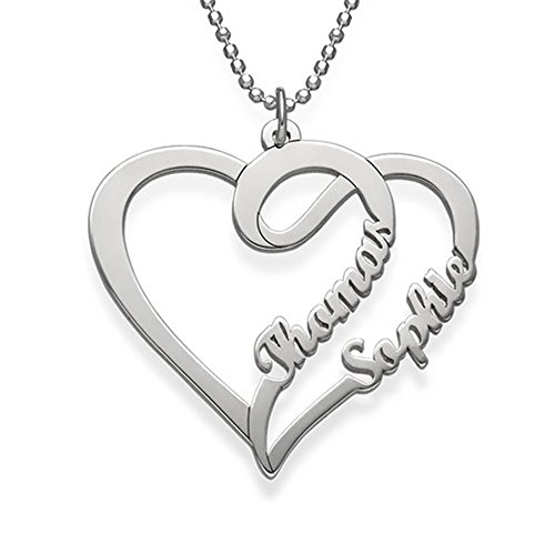 (Fashion Custom Couple Heart Necklace - My Eternal Love Series Men's and Women's Personalized Name Custom Necklace Birthday Gift(Gold-Plated-Base)