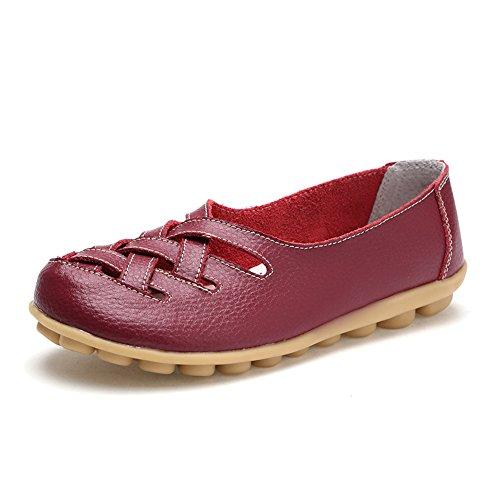 rojo Casual de Piel Sandalias Mujer Suave para conducción para Estilo Ablanczoom cómodas vino PxT0wqCx