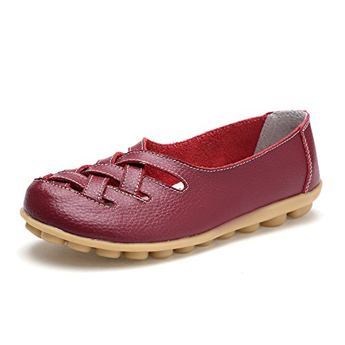 Round Comfortable Red Loafers Shoes Flats Leather Slip On Toe Cowhide Wine Womens qpX4xgE