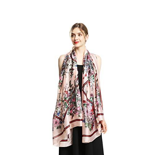 100% Silk Scarfs for Women Fashion Large Sunscreen Shawls Long Lightweight Floral Pattern Scarves (fsduohualian)