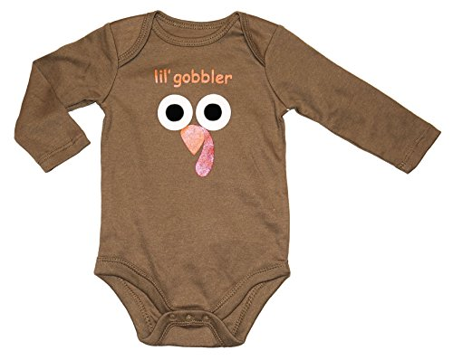 Lil Gobbler (Assorted Turkey Baby Boys & Girls Thanksgiving Long Sleeve Bodysuit Outfit (0-3 Months, Brown - Double Sided - lil' gobbler))