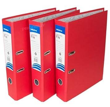 3 archivadores de palanca de polipropileno, tamaño A4, grandes, para oficina, papel, carpetas de almacenamiento [negro rojo y azul mezcla], color x3 Blue ...