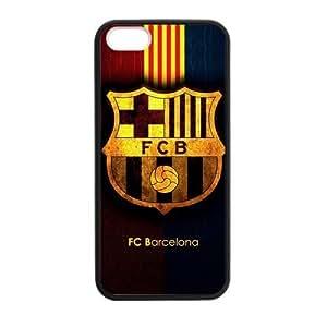 RAROFU Favorite Soccer Team FC Barcelona Custom Case for iPhone 5,5S TPU (Laser Technology)