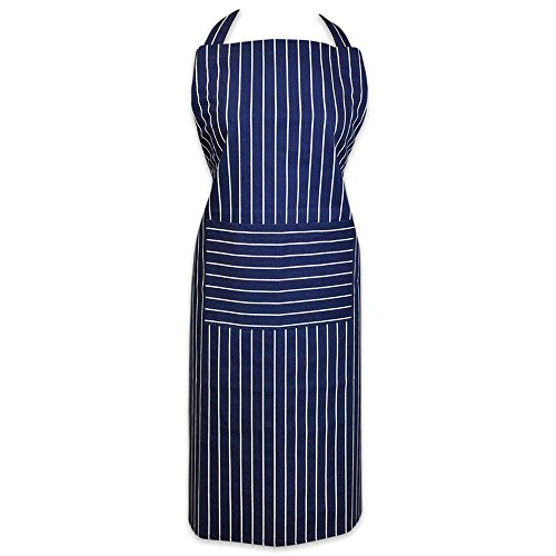 DII 100% Cotton, Professional Stripe Bib Chef Apron, Unisex Restaurant Kitchen Apron, Adjustable Neck Strap & Waist Ties, Machine Washable, Front Pocket, Perfect for Cooking, Baking, BBQ - Blue