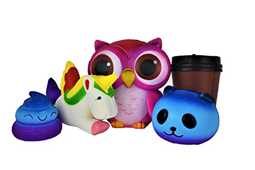JUMBO SQUISHIES 5 PCS- SLOW RISING SQUISHY TOYS- KAWAII SCENTED OWL, PANDA, POO, UNICORN, AND COFFEE- STRESS RELIEVING AND HOURS OF PLAY W/ THESE SQUISHY ANIMALS &FRIENDS-VALUE PACK SQUISHIES