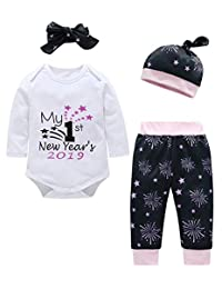 SUPEYA Infant Baby My First Year Letter Romper Firework Pants Hat Headband Outfit